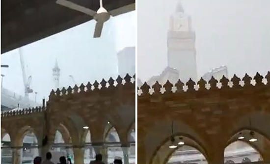 بالفيديو: أصوات الرعد تتخلل صوت الأذان في الحرم المكي