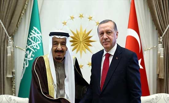 أردوغان والعاهل السعودي يبحثان العلاقات الثنائية