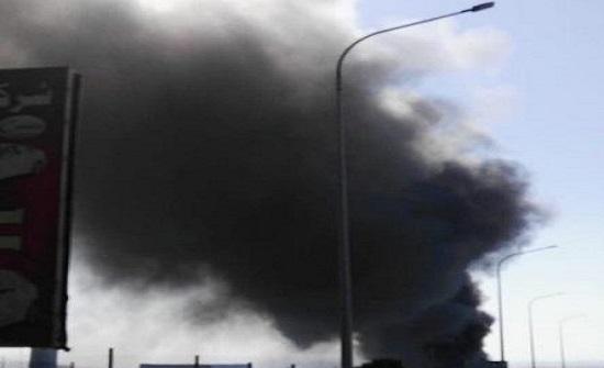 بالفيديو والصور  : حريق كبير بحافلات سكراب داخل المنطقة الحرة بالزرقاء
