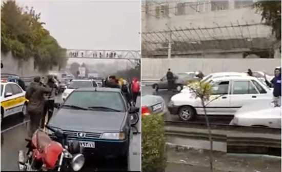 بالفيديو : إيرانيون يغلقون الطرق الرئيسية بعدما عطلوا محركات سياراتهم بسبب غلاء البنزين