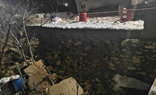 عجلون : انهيار جدار في منطقة عين جنا