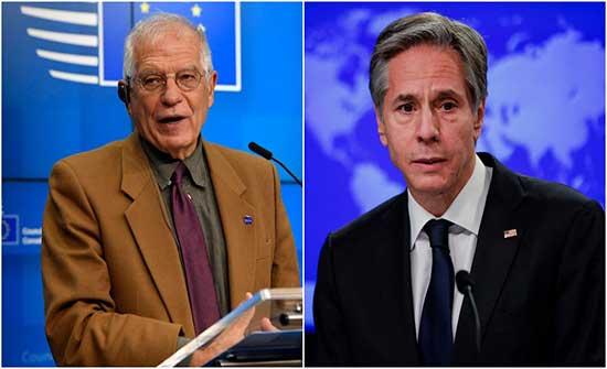 بوريل وبلينكن ناقشا ضمان التنفيذ الكامل والفعال للاتفاق النووي الإيراني