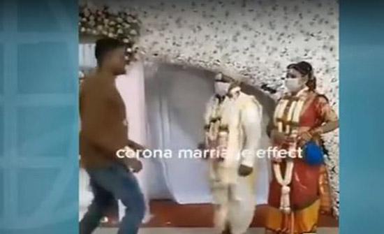 فيديو ..حفل زفاف في الهند على طريقة كورونا