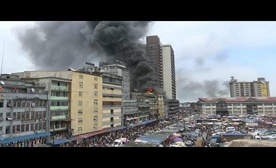 بالفيديو  : حريق هائل في سوق بمدينة لاغوس النيجيرية
