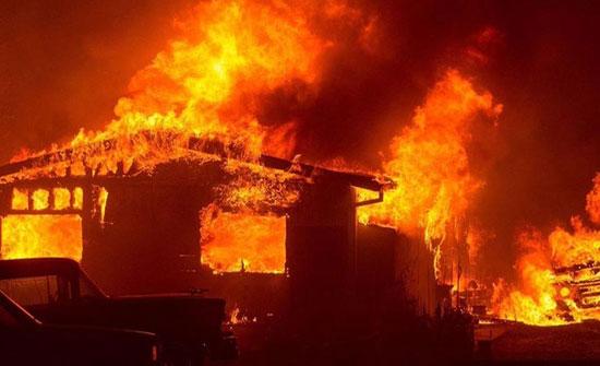 حريق داخل منزل بالزرقاء