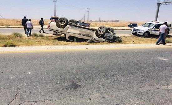 وفاة واصابتين إثر حادث تصادم مقابل محطة سهل الدبة باتجاه المفرق .. صور