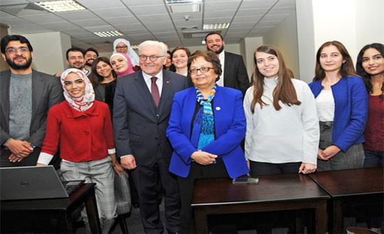 الرئيس الألماني يزور كلية الدراسات العليا لإدارة الأعمال للجامعة الألمانية الأردنية
