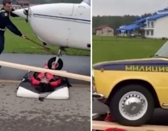 سيارة وطائرة تمران فوق جسد سيدة 50 عاما في روسيا .. بالفيديو