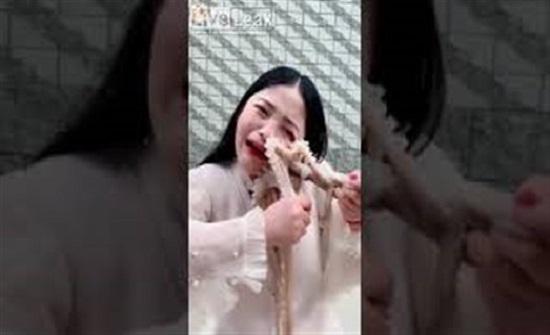 أخطبوط غاضب يلتصق بوجه سيدة حاولت أكله حيا (فيديو)