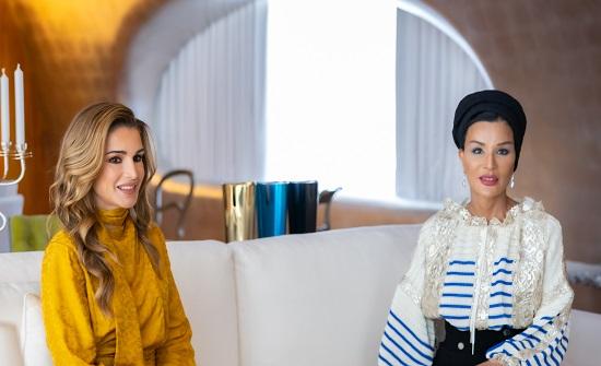 الملكة رانيا العبدالله تلتقي الشيخة موزا بنت ناصر
