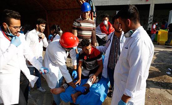 بالفيديو :  مقتل متظاهر وإصابة عشرات آخرين في بغداد