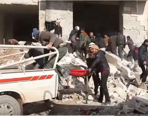 بالفيديو: عشرات القتلى والجرحى بغارات روسية على معرة النعمان بإدلب