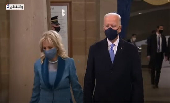 بايدن يصل إلى منصة التنصيب في الكونغرس .. بالفيديو