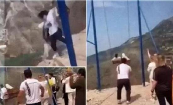 سقوط فتاتين من أرجوحة معلقة بداغستان