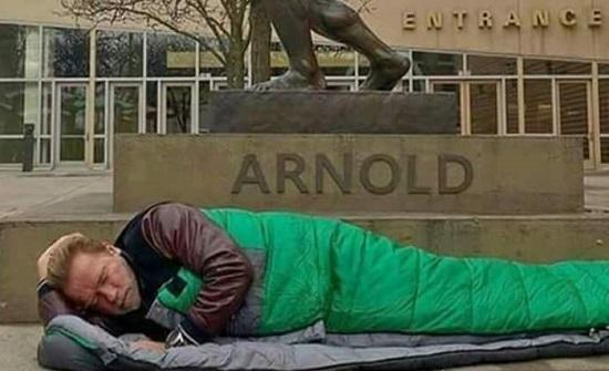 ارنولد شوارزنجر حاكم كاليفورنيا السابق ينام تحت تمثاله في الشارع بسبب الفقر - صورة