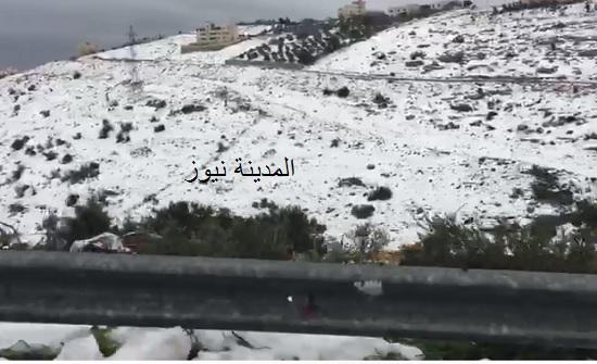 بالفيديو : شاهد جبال السلط بعد العاصفة الثلجية