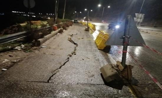بالصور : انهيار جزء ترابي على طريق عمان جرش بسبب الامطار
