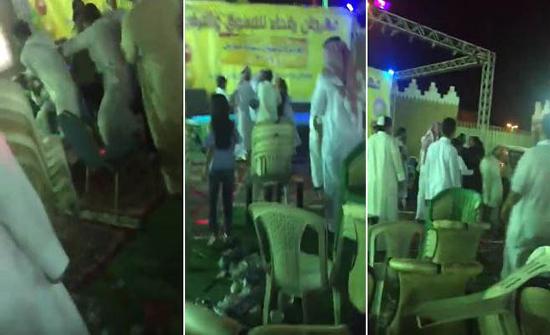 شاهد: حفل ترفيه في السعودية يتحول إلى حلبة مصارعة جماعية