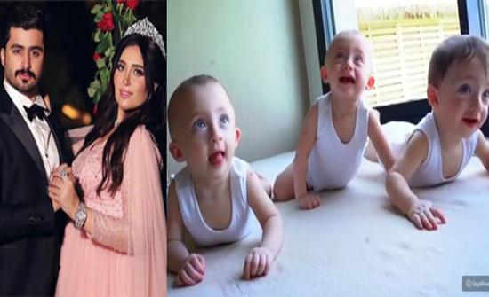 بالفيديو : الدكتورة خلود وزوجها ينشران أغنية لتوائمهما الثلاث