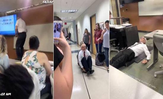 بالفيديو : أستاذ ستيني يصبح حديث مواقع التواصل بأمريكا بسبب ما فعلته طالبته