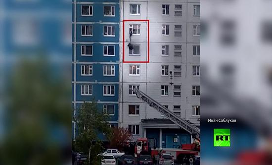 شاهد : عملية إنقاذ تحبس الأنفاس في روسيا