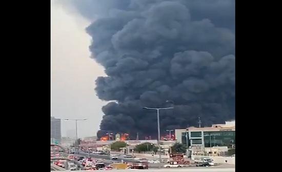 حريق ضخم في سوق شعبي بإمارة عجمان الإماراتية... فيديو