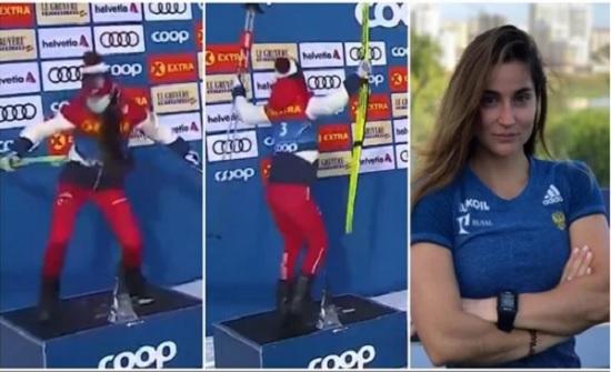 شاهد.. وصلة رقص للاعبة التزلج الروسية بعد فوزها بالمركز الثاني