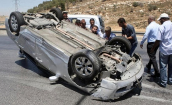 إصابة شخصين اثر حادث تدهور في إربد