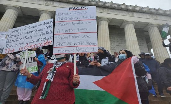 تظاهرة حاشدة في واشنطن دعما للفلسطينيين