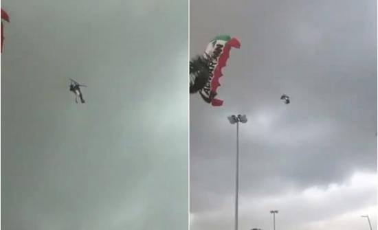 شاهد: شخصان عالقان في الهواء بعد انقطاع حبل مظلتهما بسبب الأحوال الجوية في الإمارات