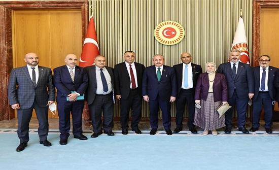 رئيس البرلمان التركي يستقبل  وفد لجنة فلسطين النيابية