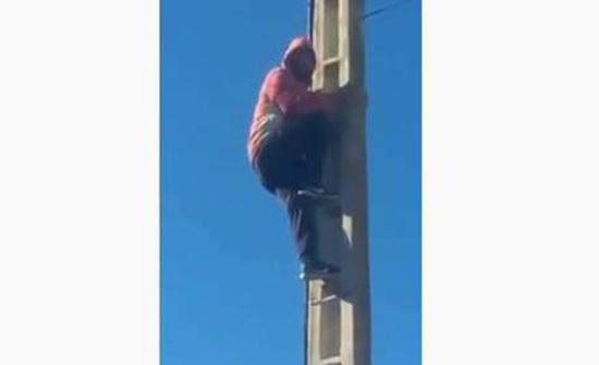بالفيديو : شاب مغربي يتسلق عمود كهرباء ويحاول الانتحار