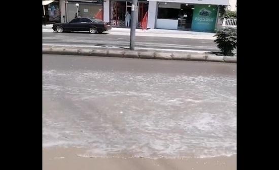 بالفيديو : ماسورة مكسورة تتسبب بهدر المياه في الزرقاء