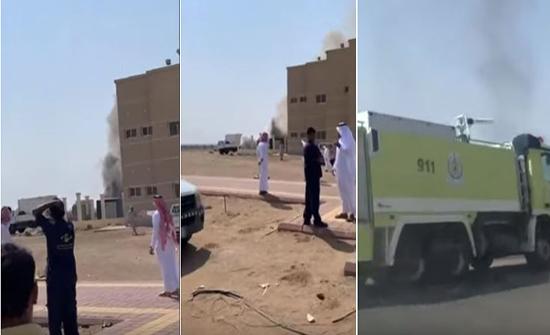 بالفيديو: اندلاع حريق بالكلية الجامعية لجامعة الطائف في السعودية