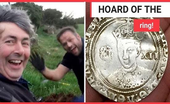 """الصدفة تقود صديقين بريطانيين  لاكتشاف """"كنز"""" تحت الأرض قيمته 100 ألف إسترليني (فيديو)"""