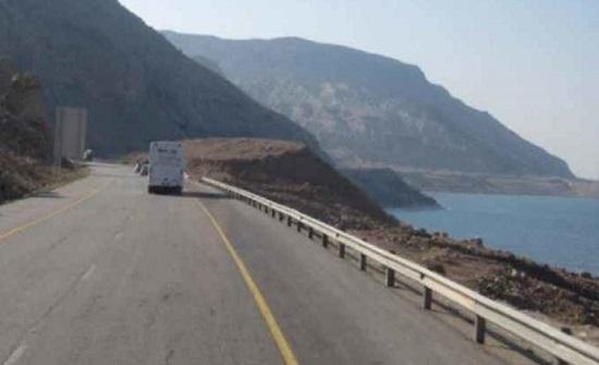 انهيار هضبة على طريق البحر الميت (تفاصيل)