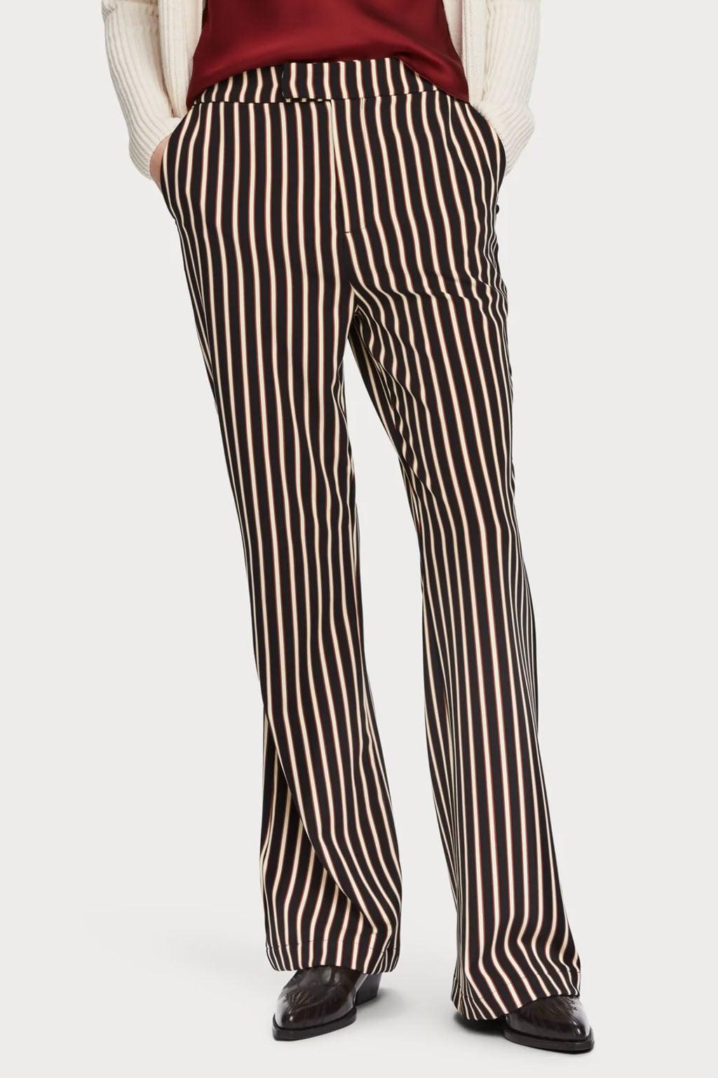 Wonderlijk Maison scotch gestreepte flare broek zwart/wit koop je   Kellyjeans.nl MC-45