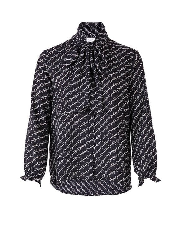 strik blouse zwart
