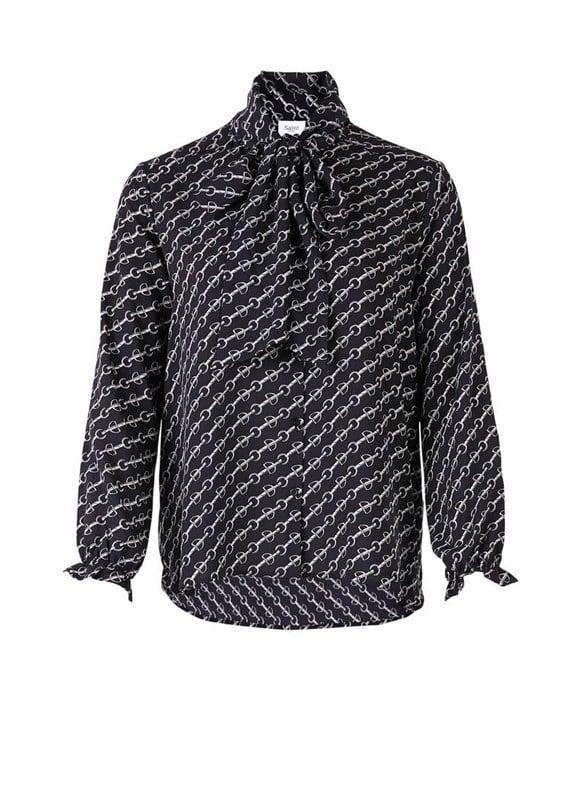 strik blouse zwart
