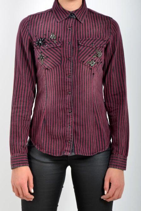 Dishe blouse paars gestreept