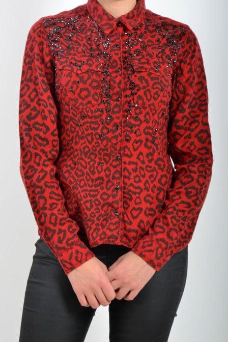 Dishe blouse panterprint rood met studs