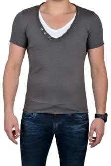 Grey t-shirt men double v-neck