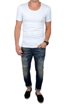 White t-shirt men o-neck