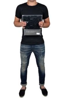 Black t-shirt men o-neck, 2-pack