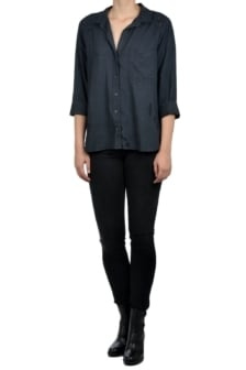 Bella dahl ripped shirt tail button down smoke pearl