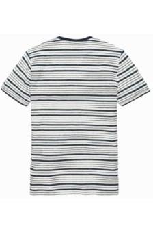 Cast iron inject melange stripe jersey bright white