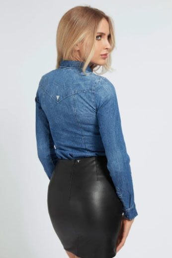 Guess lalima shirt denim blauw - Guess