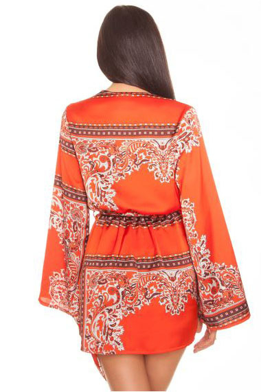 La sisters paisley kimono dress orange - La Sisters