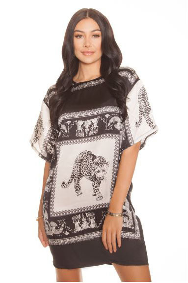 La sisters oversized t-shirt dress leopard black/white - La Sisters