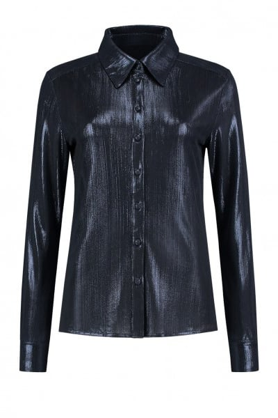 Fifth house estelle blouse metallic donker blauw - Fifth House